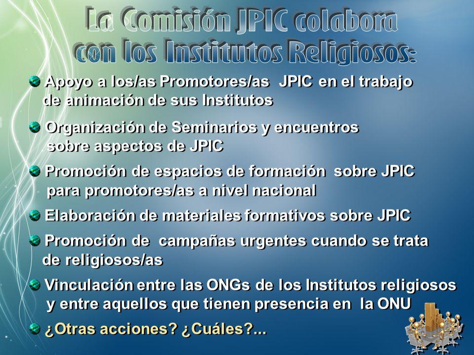 Promoción de campañas urgentes cuando se trata de religiosos/as Vinculación entre las ONGs de los Institutos religiosos y entre aquellos que tienen presencia en la ONU ¿Otras acciones.