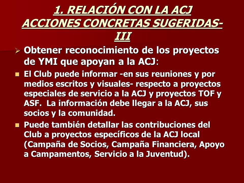 1. RELACIÓN CON LA ACJ ACCIONES CONCRETAS SUGERIDAS- III Obtener reconocimiento de los proyectos de YMI que apoyan a la ACJ: Obtener reconocimiento de
