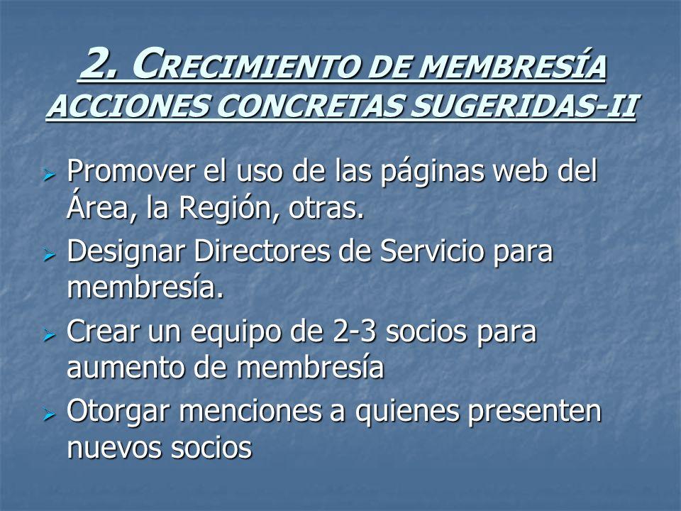2. C RECIMIENTO DE MEMBRESÍA ACCIONES CONCRETAS SUGERIDAS-II Promover el uso de las páginas web del Área, la Región, otras. Promover el uso de las pág