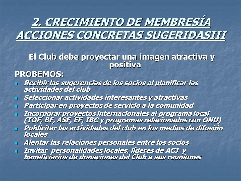2. CRECIMIENTO DE MEMBRESÍA ACCIONES CONCRETAS SUGERIDASIII El Club debe proyectar una imagen atractiva y positiva El Club debe proyectar una imagen a