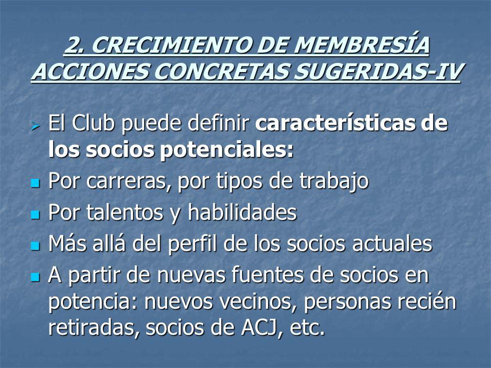 2. CRECIMIENTO DE MEMBRESÍA ACCIONES CONCRETAS SUGERIDAS-IV El Club puede definir características de los socios potenciales: El Club puede definir car