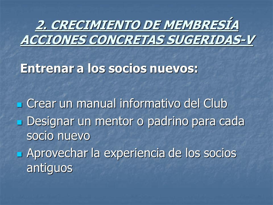 2. CRECIMIENTO DE MEMBRESÍA ACCIONES CONCRETAS SUGERIDAS-V Entrenar a los socios nuevos: Entrenar a los socios nuevos: Crear un manual informativo del