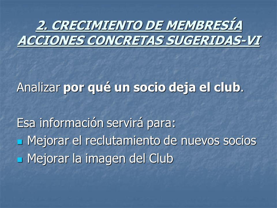 2. CRECIMIENTO DE MEMBRESÍA ACCIONES CONCRETAS SUGERIDAS-VI Analizar por qué un socio deja el club.