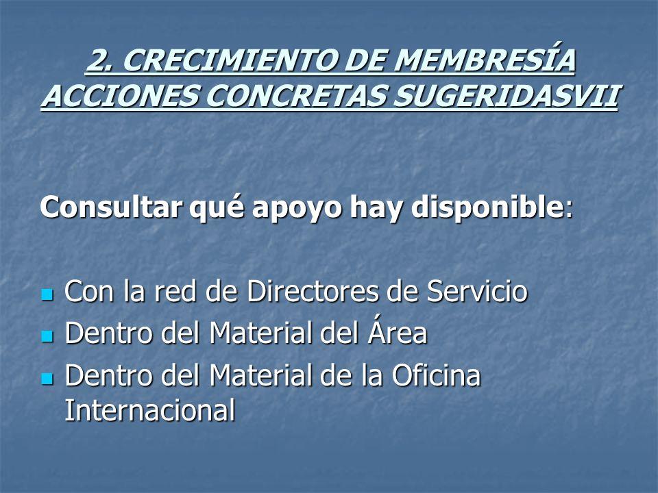 2. CRECIMIENTO DE MEMBRESÍA ACCIONES CONCRETAS SUGERIDASVII Consultar qué apoyo hay disponible: Con la red de Directores de Servicio Con la red de Dir