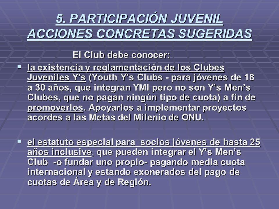 5. PARTICIPACIÓN JUVENIL ACCIONES CONCRETAS SUGERIDAS El Club debe conocer: El Club debe conocer: la existencia y reglamentación de los Clubes Juvenil