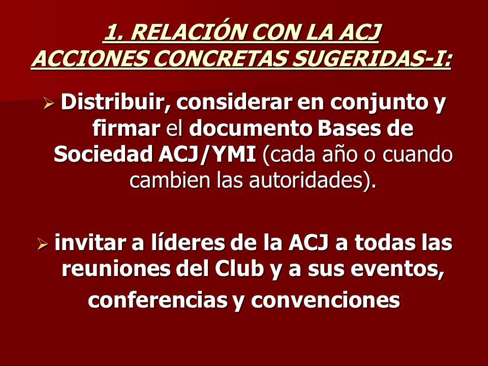 1. RELACIÓN CON LA ACJ ACCIONES CONCRETAS SUGERIDAS-I: Distribuir, considerar en conjunto y firmar el documento Bases de Sociedad ACJ/YMI (cada año o