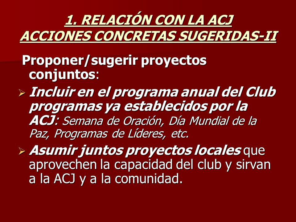 1. RELACIÓN CON LA ACJ ACCIONES CONCRETAS SUGERIDAS-II Proponer/sugerir proyectos conjuntos: Proponer/sugerir proyectos conjuntos: Incluir en el progr