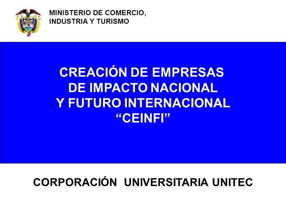 CORPORACIÓN UNIVERSITARIA UNITEC MINISTERIO DE COMERCIO, INDUSTRIA Y TURISMO CREACIÓN DE EMPRESAS DE IMPACTO NACIONAL Y FUTURO INTERNACIONAL CEINFI