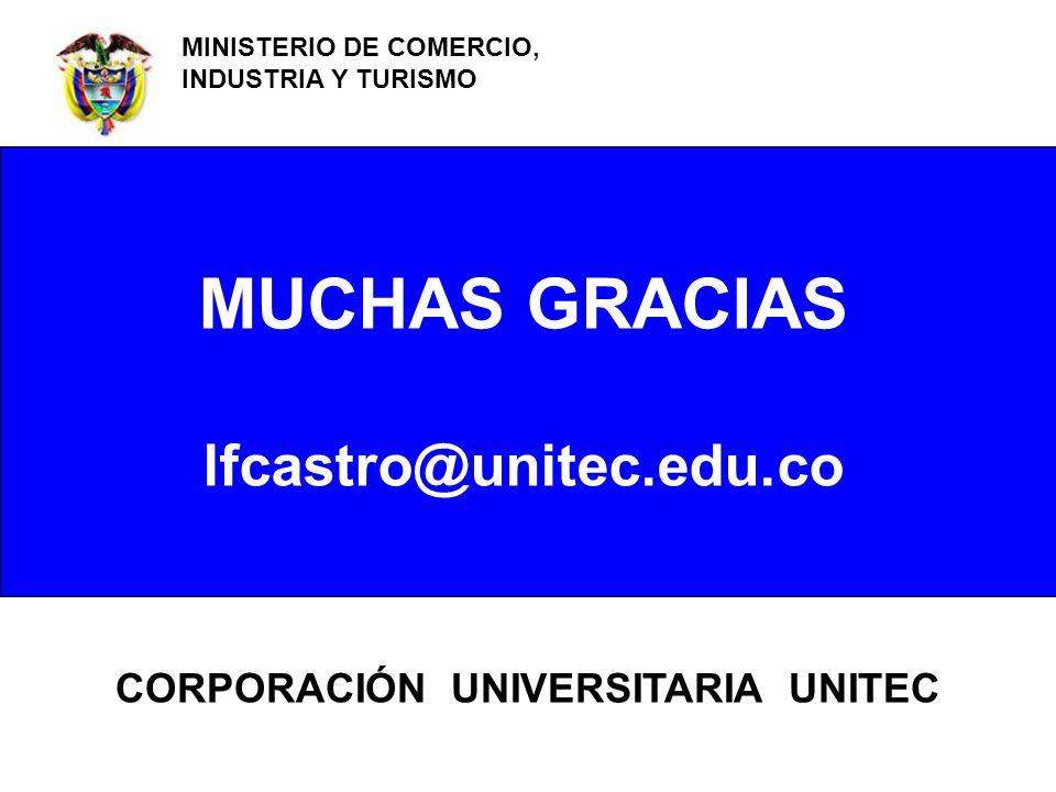 FRANCISCO CASTRO A POLITÉCNICO GRANCOLOMBIANO CENTRO DE INNOVACIÓN Y GESTIÓN EMPRESARIAL - CIGE MUCHAS GRACIAS lfcastro@unitec.edu.co MINISTERIO DE CO