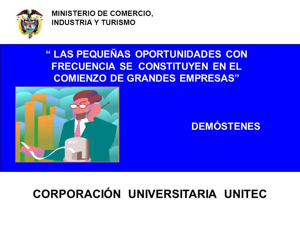 MINISTERIO DE COMERCIO, INDUSTRIA Y TURISMO LAS PEQUEÑAS OPORTUNIDADES CON FRECUENCIA SE CONSTITUYEN EN EL COMIENZO DE GRANDES EMPRESAS DEMÓSTENES COR