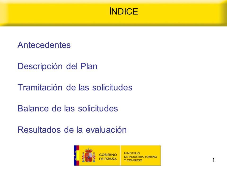 ÍNDICE Antecedentes Descripción del Plan Tramitación de las solicitudes Balance de las solicitudes Resultados de la evaluación 1