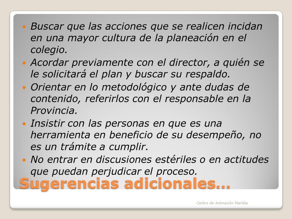 Sugerencias adicionales… Buscar que las acciones que se realicen incidan en una mayor cultura de la planeación en el colegio.