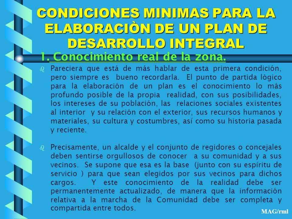 CONDICIONES MINIMAS PARA LA ELABORACIÒN DE UN PLAN DE DESARROLLO INTEGRAL 2.