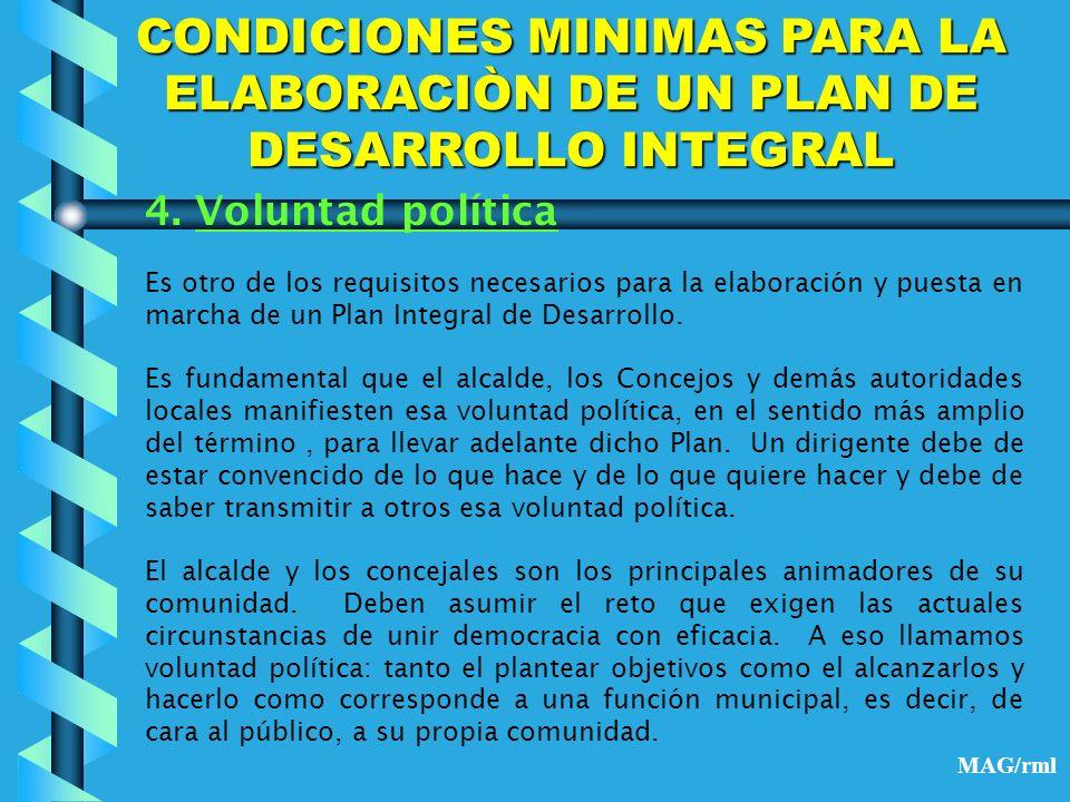 CONDICIONES MINIMAS PARA LA ELABORACIÒN DE UN PLAN DE DESARROLLO INTEGRAL 5.