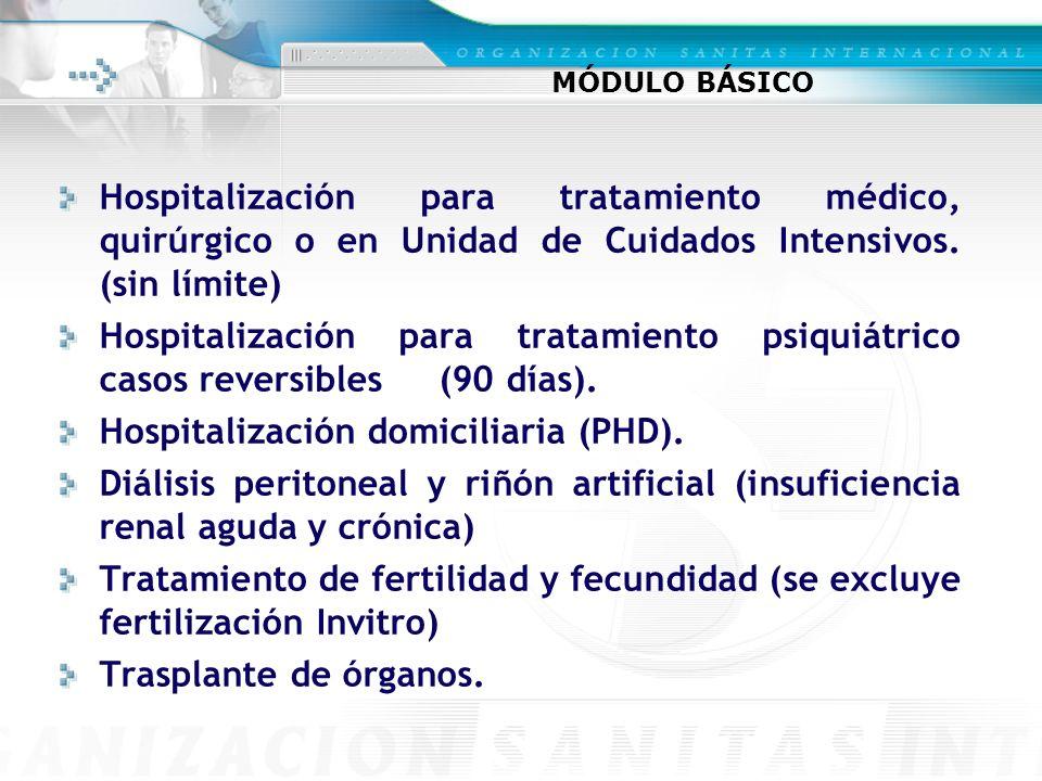 MÓDULO BÁSICO Hospitalización para tratamiento médico, quirúrgico o en Unidad de Cuidados Intensivos. (sin límite) Hospitalización para tratamiento ps