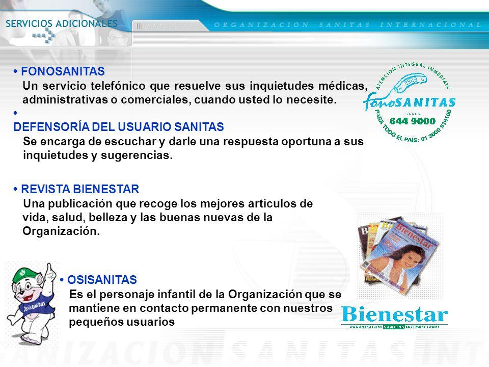 FONOSANITAS Un servicio telefónico que resuelve sus inquietudes médicas, administrativas o comerciales, cuando usted lo necesite. DEFENSORÍA DEL USUAR