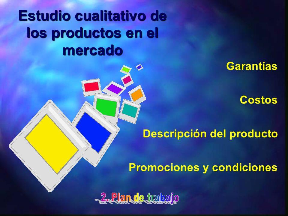 Estudio cualitativo de los productos en el mercado Descripción del producto Costos Garantías Promociones y condiciones