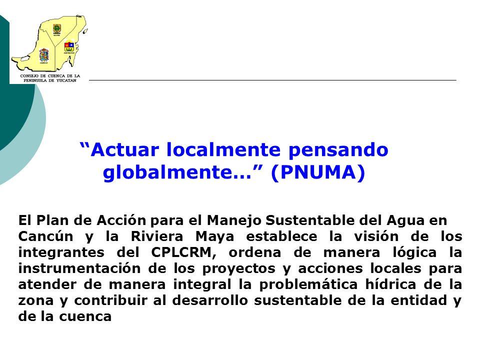 Actuar localmente pensando globalmente… (PNUMA) El Plan de Acción para el Manejo Sustentable del Agua en Cancún y la Riviera Maya establece la visión