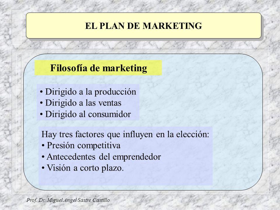 Prof. Dr. Miguel Angel Sastre Castillo EL PLAN DE MARKETING Filosofía de marketing Dirigido a la producción Dirigido a las ventas Dirigido al consumid