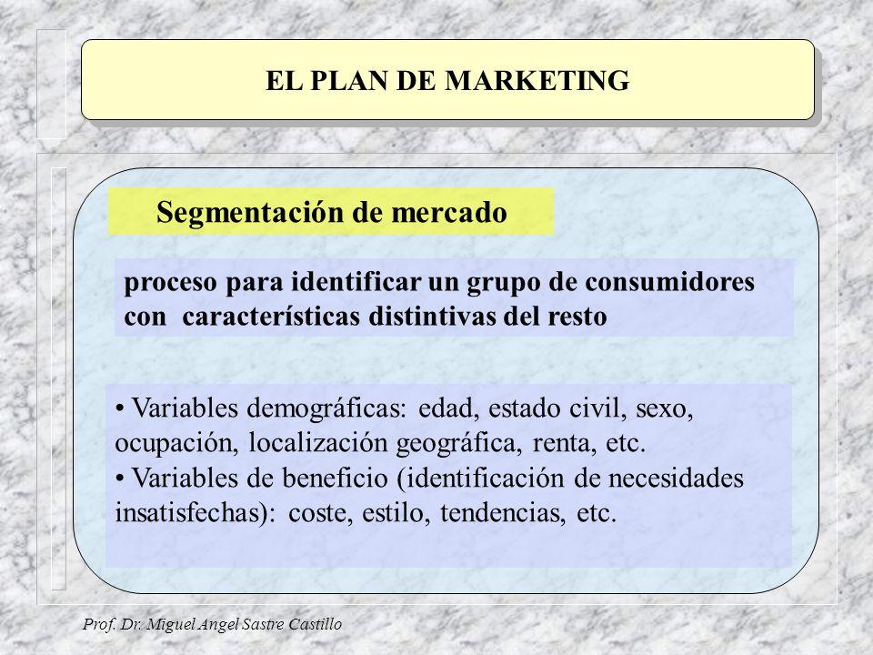 Prof. Dr. Miguel Angel Sastre Castillo EL PLAN DE MARKETING Segmentación de mercado proceso para identificar un grupo de consumidores con característi