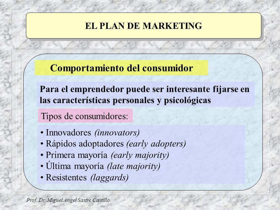 Prof. Dr. Miguel Angel Sastre Castillo EL PLAN DE MARKETING Comportamiento del consumidor Para el emprendedor puede ser interesante fijarse en las car
