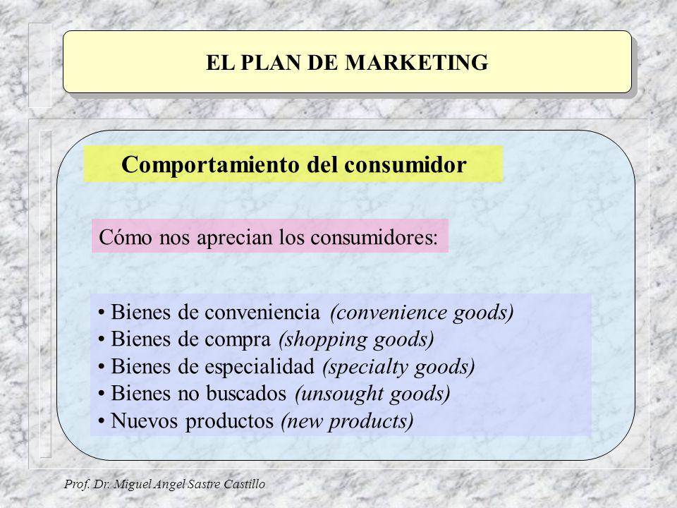 Prof. Dr. Miguel Angel Sastre Castillo EL PLAN DE MARKETING Comportamiento del consumidor Bienes de conveniencia (convenience goods) Bienes de compra