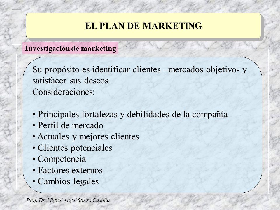 Su propósito es identificar clientes –mercados objetivo- y satisfacer sus deseos. Consideraciones: Principales fortalezas y debilidades de la compañía