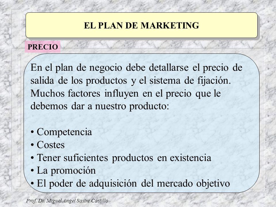 Prof. Dr. Miguel Angel Sastre Castillo EL PLAN DE MARKETING En el plan de negocio debe detallarse el precio de salida de los productos y el sistema de