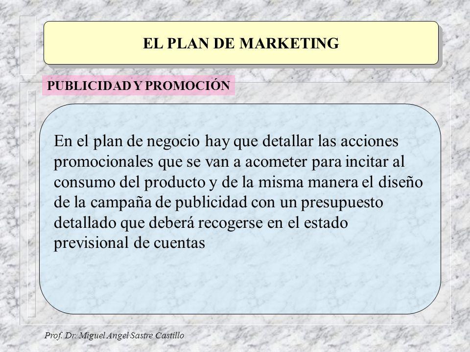 Prof. Dr. Miguel Angel Sastre Castillo EL PLAN DE MARKETING En el plan de negocio hay que detallar las acciones promocionales que se van a acometer pa