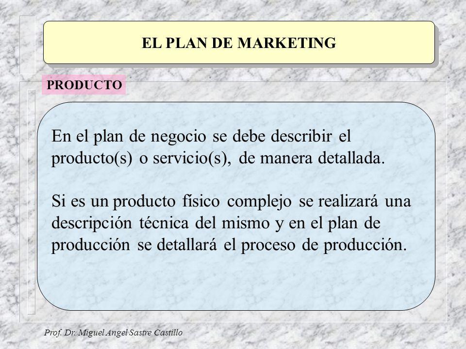 Prof. Dr. Miguel Angel Sastre Castillo EL PLAN DE MARKETING En el plan de negocio se debe describir el producto(s) o servicio(s), de manera detallada.