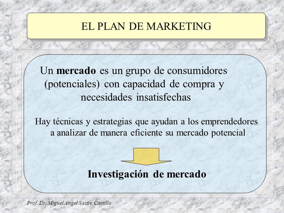 EL PLAN DE MARKETING Prof. Dr. Miguel Angel Sastre Castillo Un mercado es un grupo de consumidores (potenciales) con capacidad de compra y necesidades
