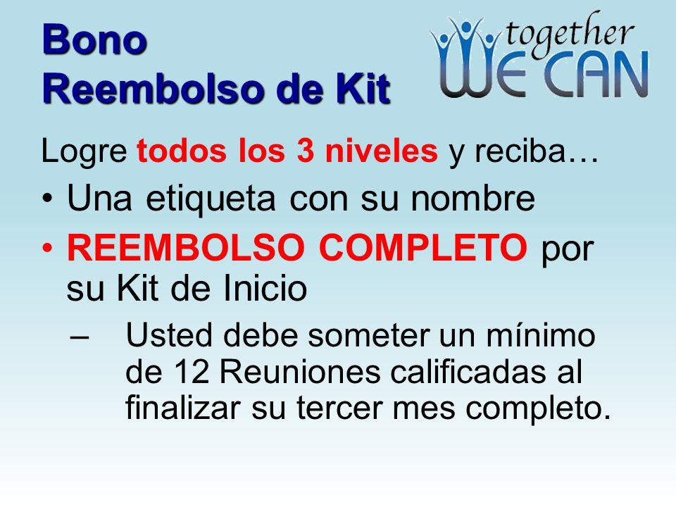 Bono Reembolso de Kit Logre todos los 3 niveles y reciba… Una etiqueta con su nombre REEMBOLSO COMPLETO por su Kit de Inicio –Usted debe someter un mínimo de 12 Reuniones calificadas al finalizar su tercer mes completo.