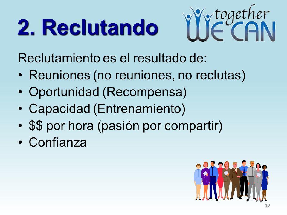 2. Reclutando Reclutamiento es el resultado de: Reuniones (no reuniones, no reclutas) Oportunidad (Recompensa) Capacidad (Entrenamiento) $$ por hora (