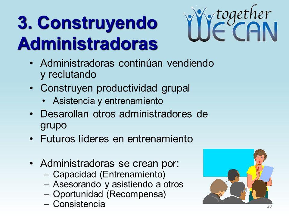 3. Construyendo Administradoras Administradoras continúan vendiendo y reclutando Construyen productividad grupal Asistencia y entrenamiento Desarollan