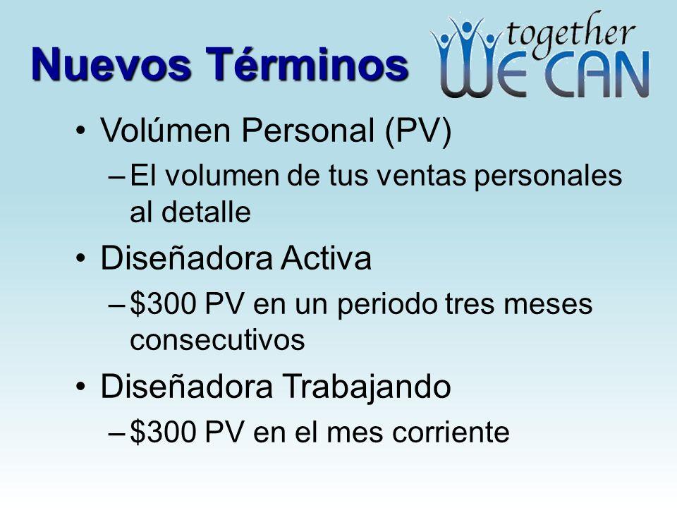 Nuevos Términos Volúmen Personal (PV) –El volumen de tus ventas personales al detalle Diseñadora Activa –$300 PV en un periodo tres meses consecutivos Diseñadora Trabajando –$300 PV en el mes corriente