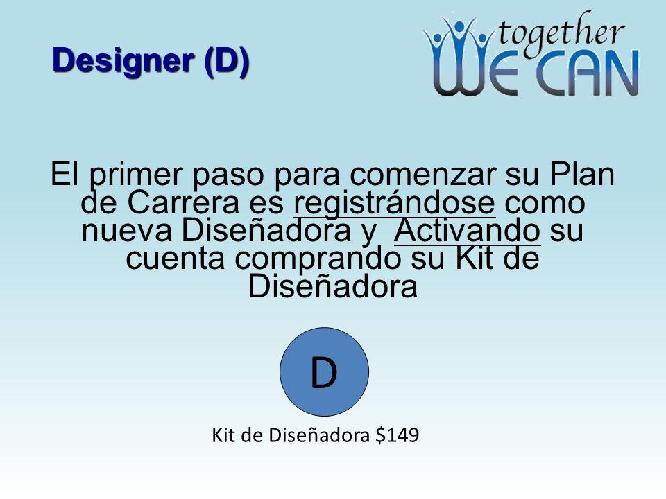 Designer (D) El primer paso para comenzar su Plan de Carrera es registrándose como nueva Diseñadora y Activando su cuenta comprando su Kit de Diseñadora.