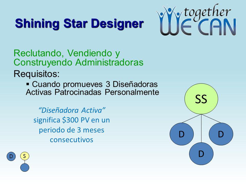 Shining Star Designer Reclutando, Vendiendo y Construyendo Administradoras Requisitos: Cuando promueves 3 Diseñadoras Activas Patrocinadas Personalmen