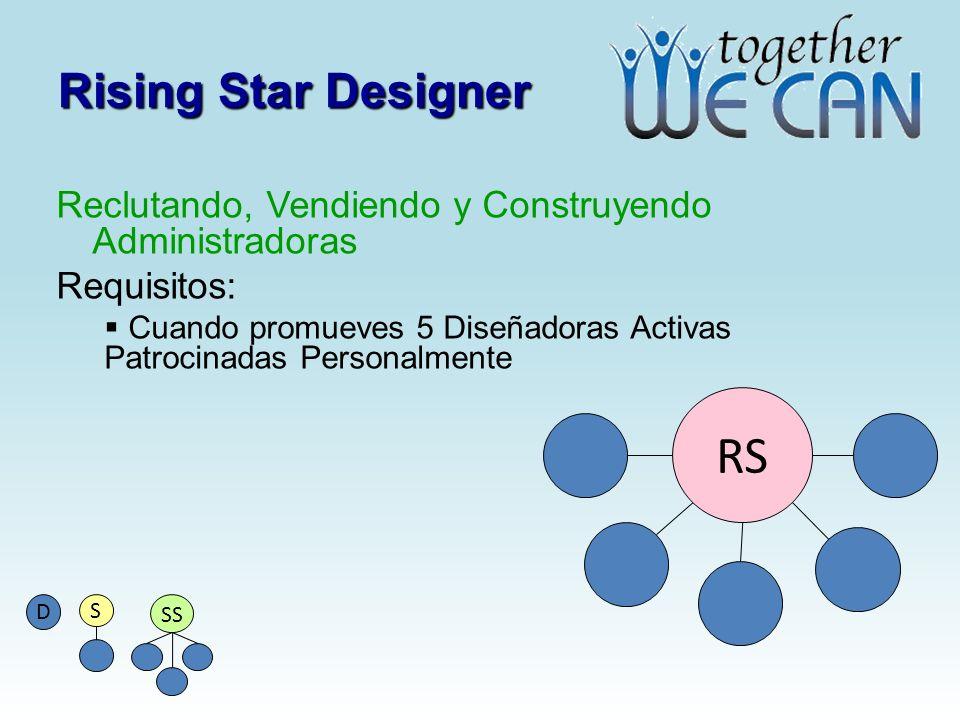 Rising Star Designer Reclutando, Vendiendo y Construyendo Administradoras Requisitos: Cuando promueves 5 Diseñadoras Activas Patrocinadas Personalment