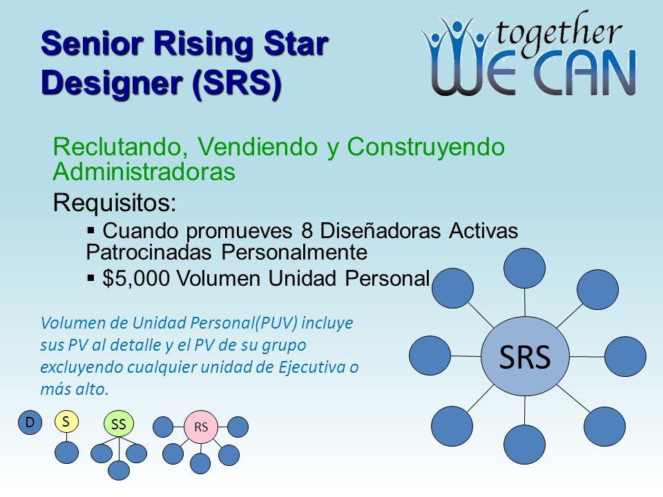 Senior Rising Star Designer (SRS) Reclutando, Vendiendo y Construyendo Administradoras Requisitos: Cuando promueves 8 Diseñadoras Activas Patrocinadas