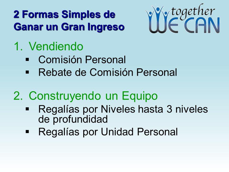 2 Formas Simples de Ganar un Gran Ingreso 1. Vendiendo Comisión Personal Rebate de Comisión Personal 2. Construyendo un Equipo Regalías por Niveles ha