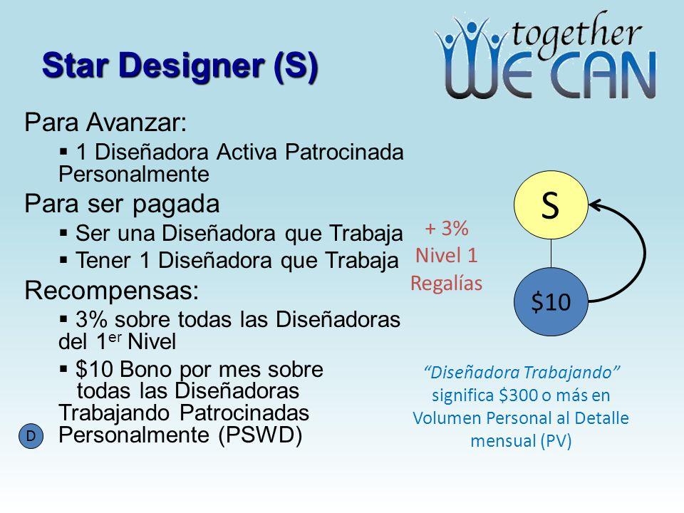 Star Designer (S) Para Avanzar: 1 Diseñadora Activa Patrocinada Personalmente Para ser pagada Ser una Diseñadora que Trabaja Tener 1 Diseñadora que Tr