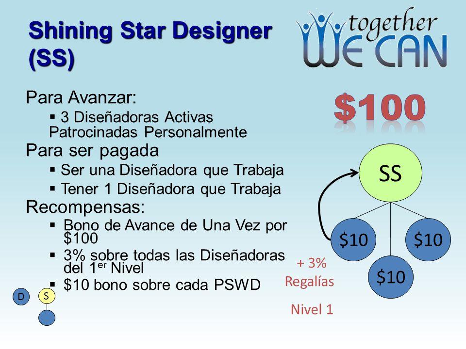 Shining Star Designer (SS) Para Avanzar: 3 Diseñadoras Activas Patrocinadas Personalmente Para ser pagada Ser una Diseñadora que Trabaja Tener 1 Diseñadora que Trabaja Recompensas: Bono de Avance de Una Vez por $100 3% sobre todas las Diseñadoras del 1 er Nivel $10 bono sobre cada PSWD SS $10 S D + 3% Regalías Nivel 1