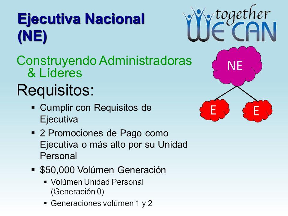 Ejecutiva Nacional (NE) Construyendo Administradoras & Líderes Requisitos: Cumplir con Requisitos de Ejecutiva 2 Promociones de Pago como Ejecutiva o