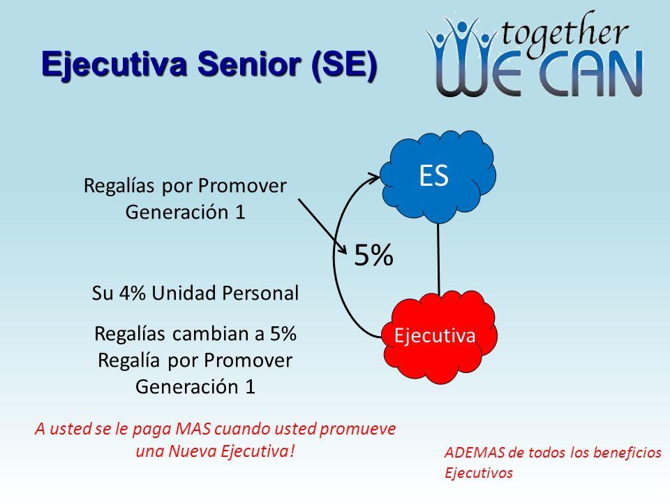 Ejecutiva Senior (SE) ES Ejecutiva 5% Regalías por Promover Generación 1 Su 4% Unidad Personal Regalías cambian a 5% Regalía por Promover Generación 1 A usted se le paga MAS cuando usted promueve una Nueva Ejecutiva.