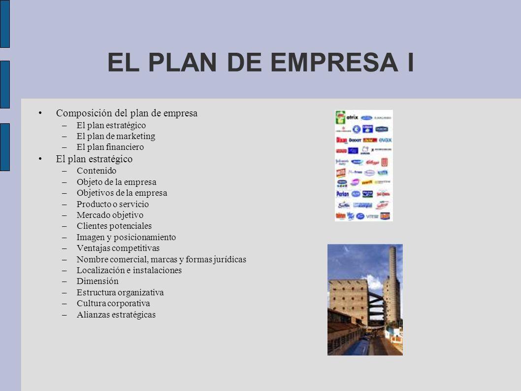 EL PLAN DE EMPRESA I Composición del plan de empresa –El plan estratégico –El plan de marketing –El plan financiero El plan estratégico –Contenido –Ob