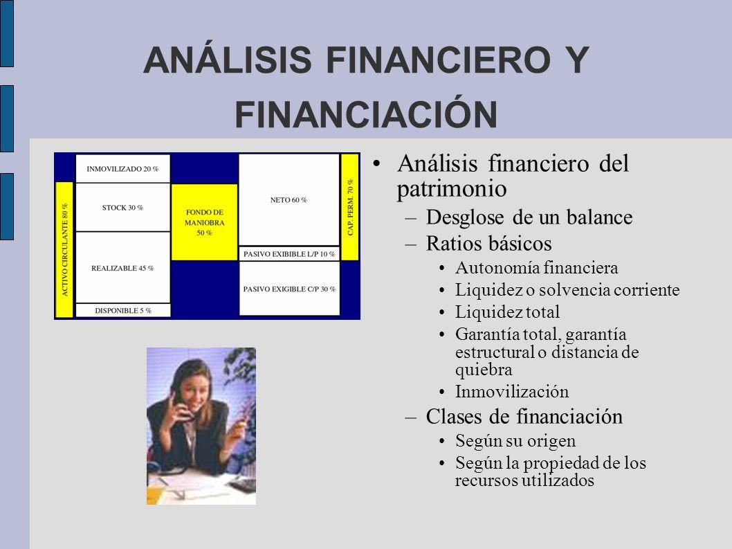 ANÁLISIS FINANCIERO Y FINANCIACIÓN Análisis financiero del patrimonio –Desglose de un balance –Ratios básicos Autonomía financiera Liquidez o solvenci