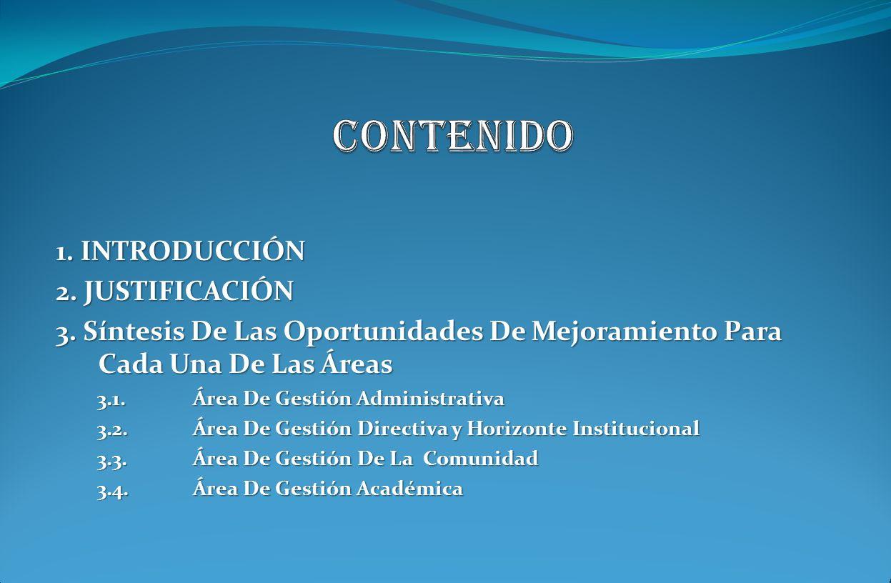 1. INTRODUCCIÓN 2. JUSTIFICACIÓN 3. Síntesis De Las Oportunidades De Mejoramiento Para Cada Una De Las Áreas 3.1. Área De Gestión Administrativa 3.1.
