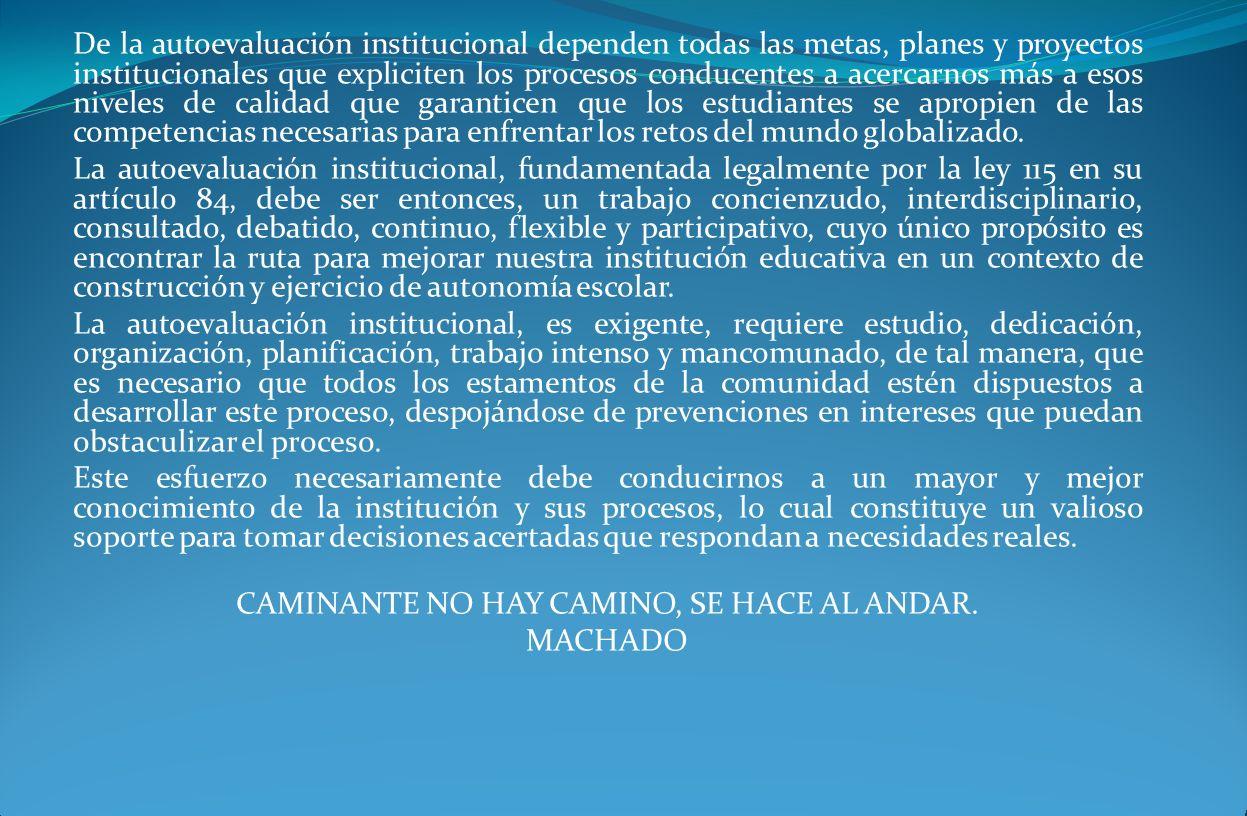 De la autoevaluación institucional dependen todas las metas, planes y proyectos institucionales que expliciten los procesos conducentes a acercarnos m