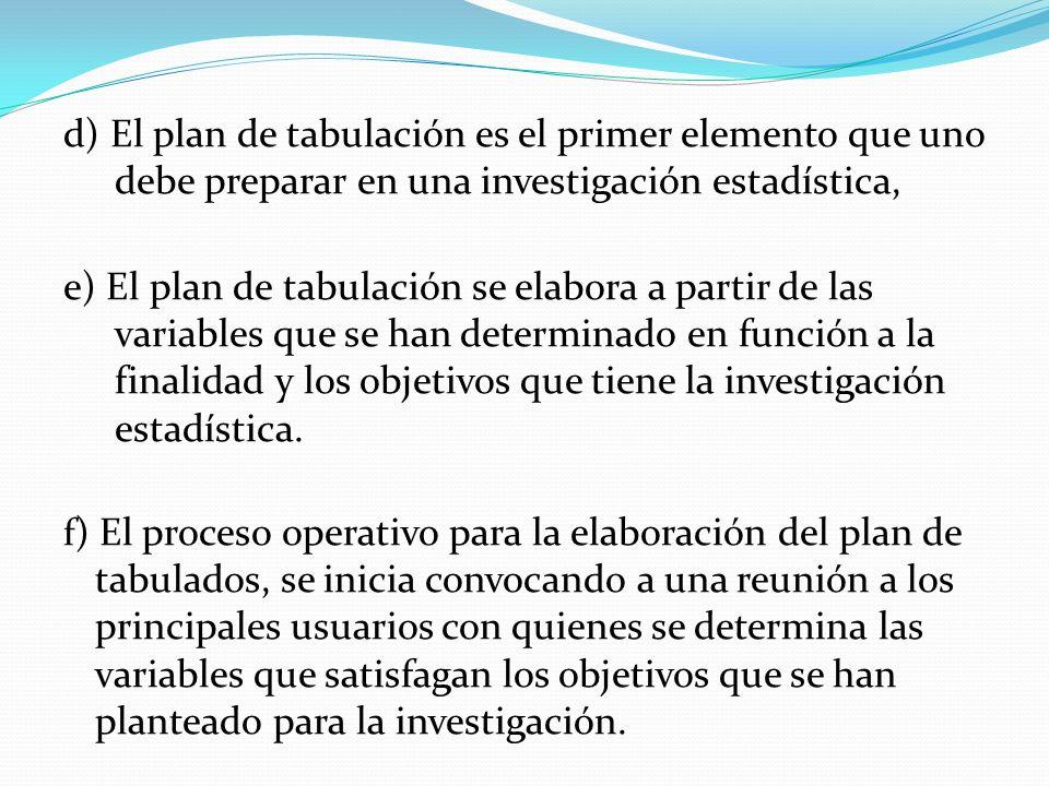 d) El plan de tabulación es el primer elemento que uno debe preparar en una investigación estadística, e) El plan de tabulación se elabora a partir de