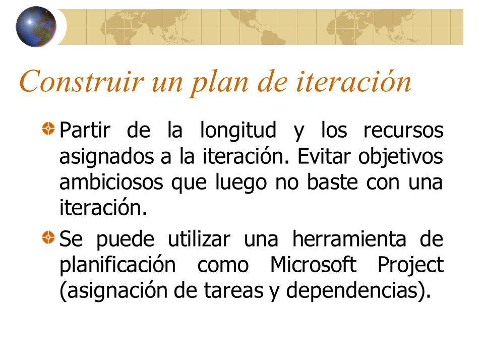 Construir un plan de iteración Partir de la longitud y los recursos asignados a la iteración. Evitar objetivos ambiciosos que luego no baste con una i